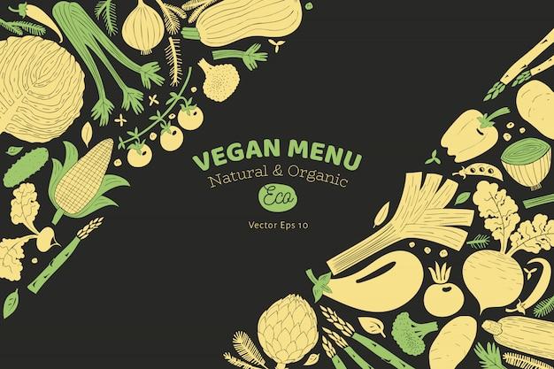 Leuke hand getrokken groenten ontwerpsjabloon.