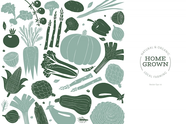 Leuke hand getrokken groenten