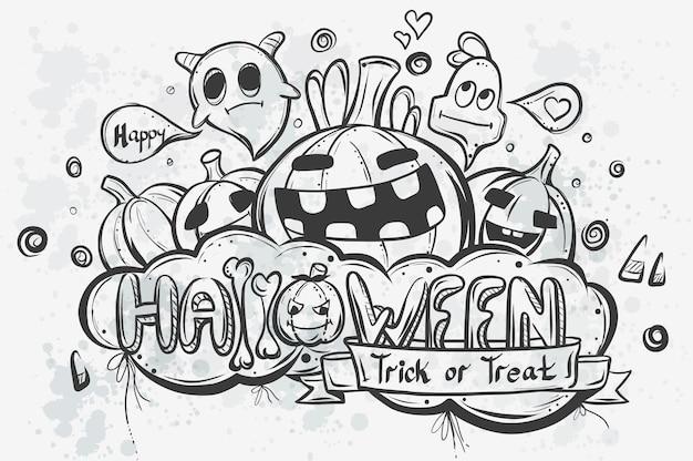 Leuke hand getrokken halloween doodles - vector afbeelding
