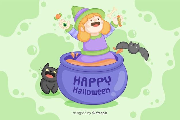Leuke hand getrokken halloween-heksenachtergrond