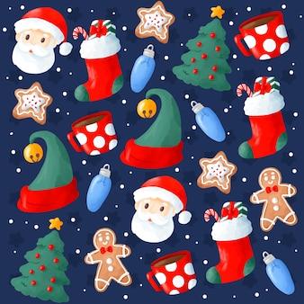 Leuke hand getrokken kerstmisachtergrond