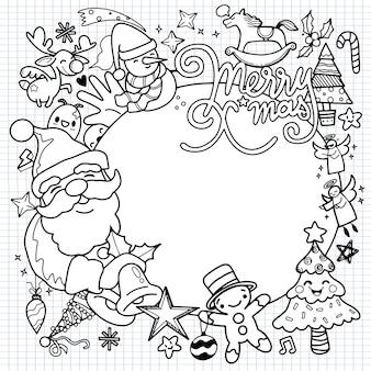 Leuke hand getrokken kerstmiskrabbels illustratie van het karakter van krabbelkerstmis op cirkel tekening van dorp of stad