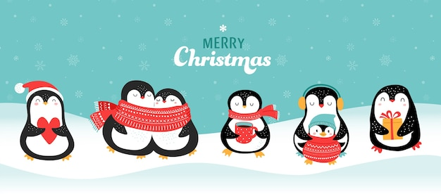 Leuke hand getrokken pinguïns collectie, merry christmas greetings. vector illustratie