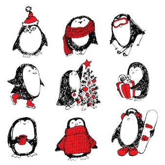 Leuke hand getrokken pinguïns set
