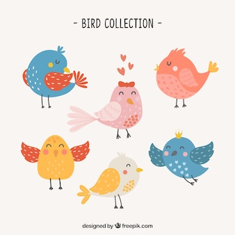 Leuke hand getrokken vogelinzameling
