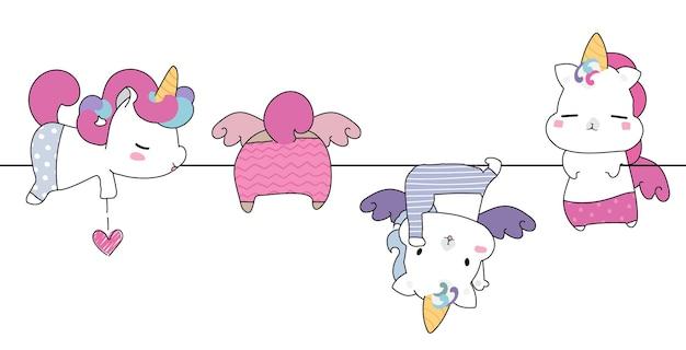 Leuke hand tekenen grappige wilde dieren cartoon illustratie Premium Vector