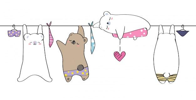 Leuke hand tekenen wild dier familie groet cartoon doodle behang