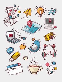 Leuke handgetekende doodle sociale media set