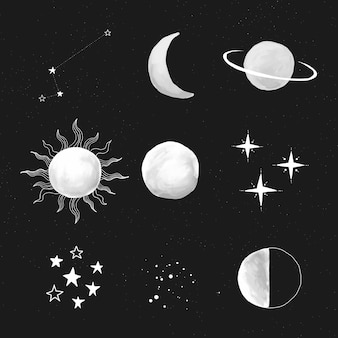 Leuke handgetekende galaxy set vector