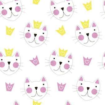 Leuke handgetekende kat met kroon naadloze patroonachtergrond