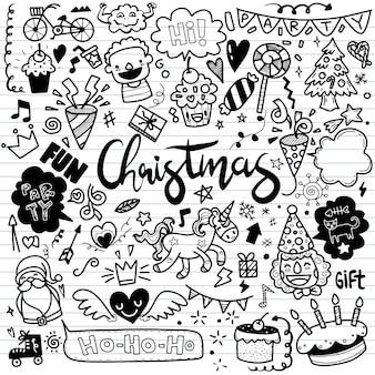 Leuke handgetekende kerstkrabbels, set van kerstontwerpelement in doodle-stijl, schetsmatige handgetekende doodle cartoon set objecten op het merry christmas-thema, elk op een aparte laag.
