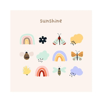 Leuke handgetekende kleine regenbogen, bloemen, vlinders, regenwolken en bijen. gezellige hygge scandinavische stijlsjabloon voor briefkaart, wenskaart, t-shirt design. vectorillustratie in platte cartoonstijl