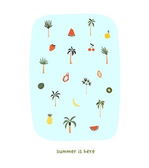Leuke handgetekende kleine zomerpalmbomen en fruit watermeloen drakenfruit papaya