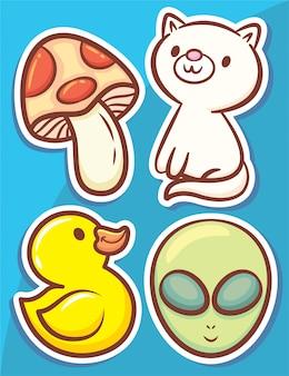 Leuke handgetekende objecten en tekens stickers