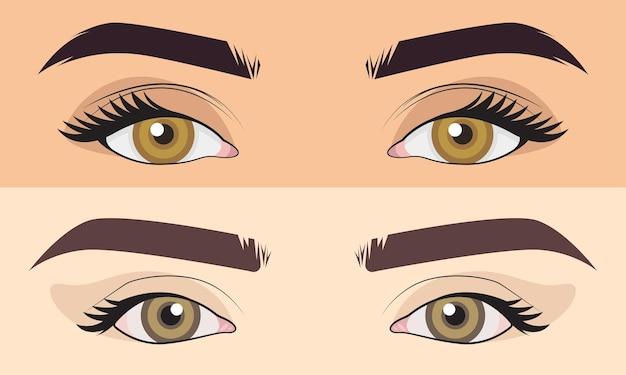 Leuke handgetekende set mannen en meisje close-up ogen gebied