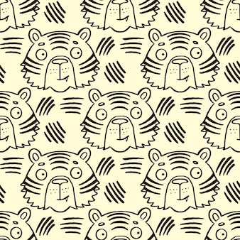 Leuke handgetekende tijger baby naadloze patroon brullen doodle kinderkamer behang ontwerp kinderen en baby t...