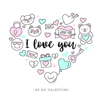 Leuke handgetekende valentijnsdag achtergrond