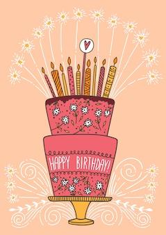 Leuke happy birthday cake met kaarsen en vuurwerk.