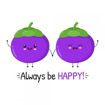 Leuke happy fun mangosteen illustratie set met motiverende citaten