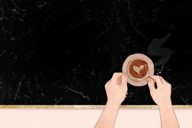 Leuke hart koffie vector zwarte glittery marmeren textuur achtergrond