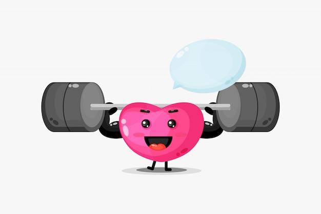 Leuke hartmascotte heft een halter op