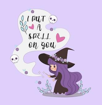 Leuke heks die magische spreuk maakt voor trekt iemand aan