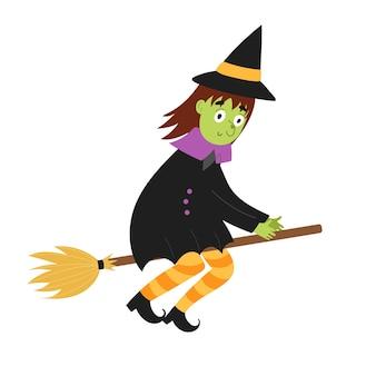 Leuke heks die op een bezem halloween-karakter in het lucht geïsoleerde element vliegt grappige heks