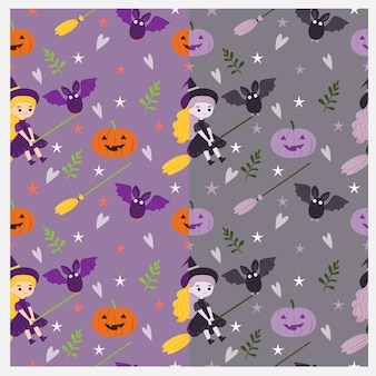 Leuke heks en halloween-elementenpatroon