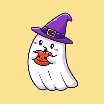Leuke heks ghost holding pompoen halloween cartoon vectorillustratie pictogram. vakantie halloween pictogram concept geïsoleerd premium vector. platte cartoonstijl