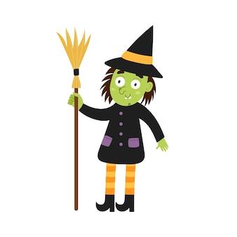 Leuke heks met een bezem halloween karakter geïsoleerd element grappige heks in cartoon-stijl voor kinderen