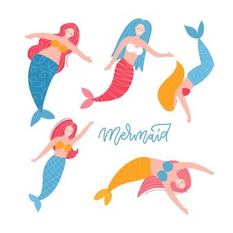 Leuke heldere zeemeerminnen set sprookjesfiguren