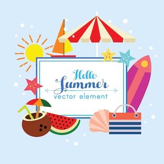 Leuke hello het elementillustratie van het de zomerontwerp