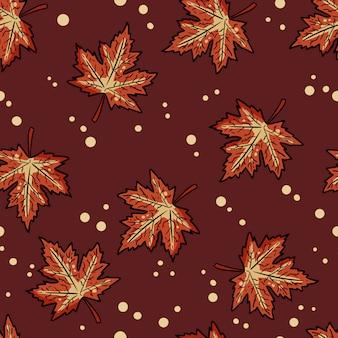 Leuke herfst esdoorn bladeren cartoon naadloze patroon.