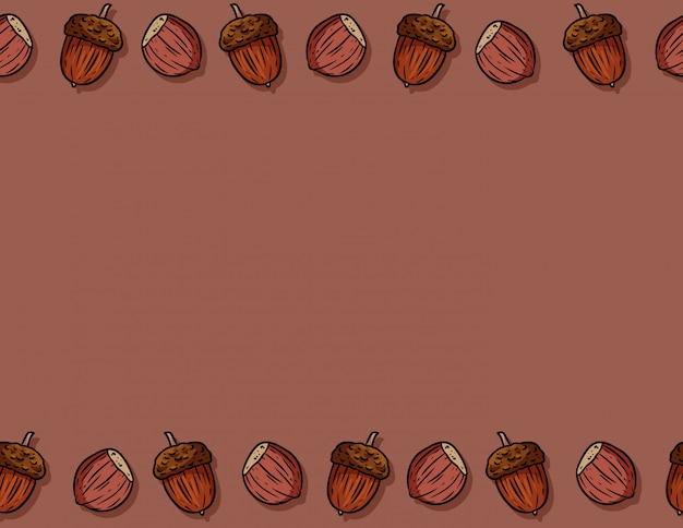 Leuke herfst hazelnoten en eikels cartoon naadloze patroon. herfst decoratie achtergrondtextuurtegel