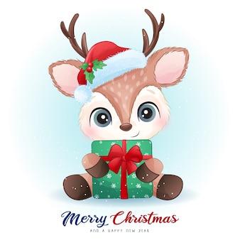 Leuke herten voor kerstdag met aquarel illustratie