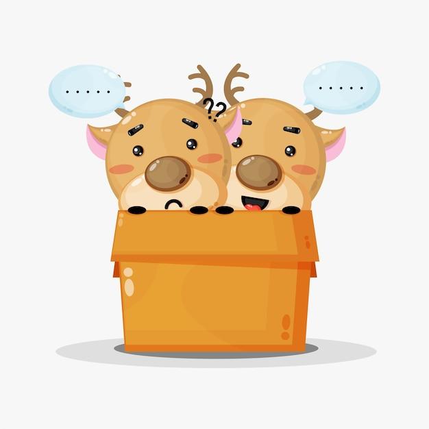 Leuke hertenmascotte in een doos met vrolijke en droevige uitdrukkingen