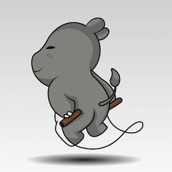 Leuke hippo in het ontwerp van de kamp vectorillustratie