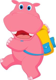 Leuke hippobeeldverhaal die naar school gaan