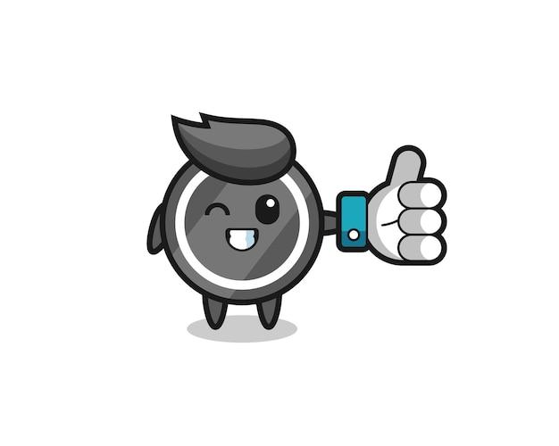 Leuke hockeypuck met sociale media duimen omhoog symbool, schattig stijlontwerp voor t-shirt, sticker, logo-element