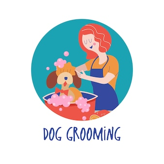 Leuke hond bij trimsalon. vrouw wast hond. hondenverzorgingsconcept. hand getekend vectorillustratie. vectorillustratie voor dierenkapsalon, styling- en verzorgingswinkel, dierenwinkel voor honden en katten
