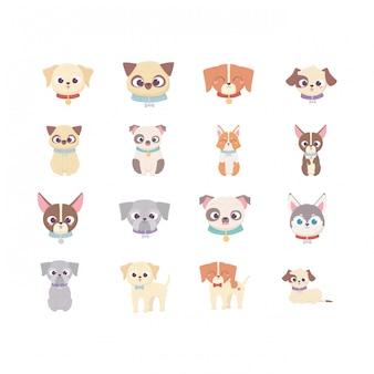Leuke hond binnenlandse cartoon dier, huisdieren instellen