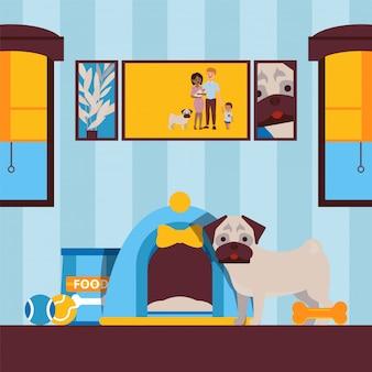 Leuke hond binnenshuis, dierlijk huisdier in flatillustratie