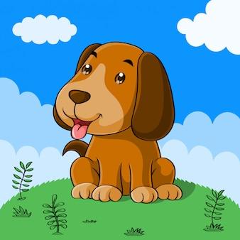Leuke hond cartoon, hand getrokken