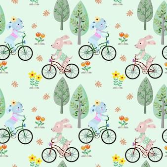 Leuke hond fietsten in het park naadloze patroon.
