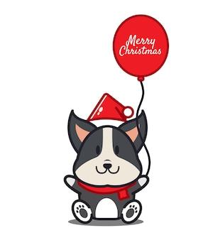 Leuke hond met ballon. kerst concept. platte cartoon stijl