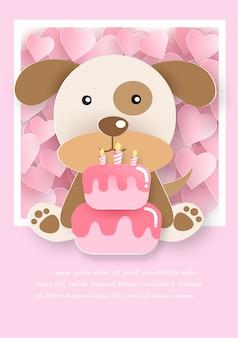 Leuke hond met cake voor verjaardagskaart.