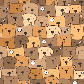 Leuke hond naadloze patroon achtergrond