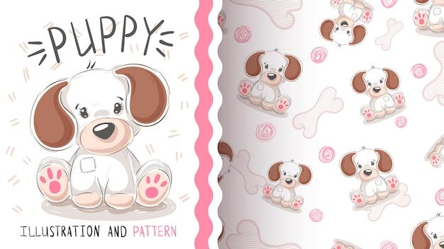 Leuke hond, puppy - naadloos patroon