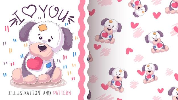 Leuke hond, puppy naadloos patroon