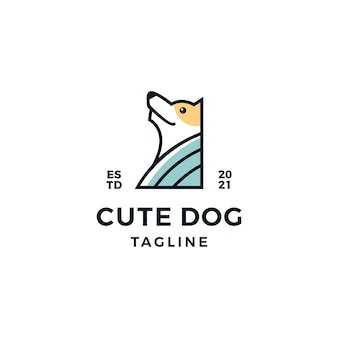 Leuke hoofd hond logo ontwerp illustratie